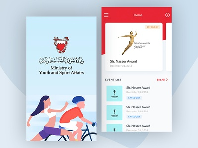 Ministry of youth and sport affairs dashboard. flat clean icon illustrator ios sport mobile vector ux ui design app