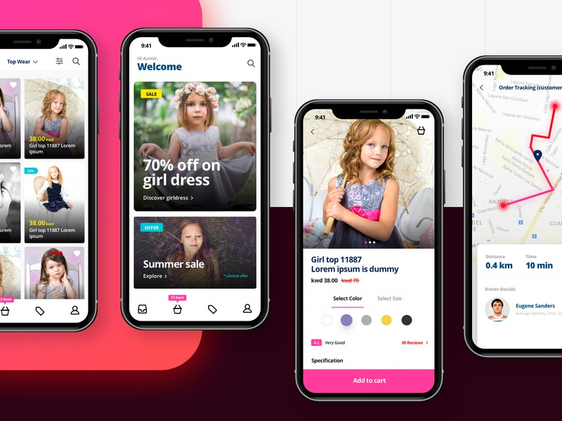 e-commerce clothes shopping app cart dribbble report list page order tracking baby uiux dashboard ui kit app shopping ui kit shopping app product page iphonex ecommerce app cards