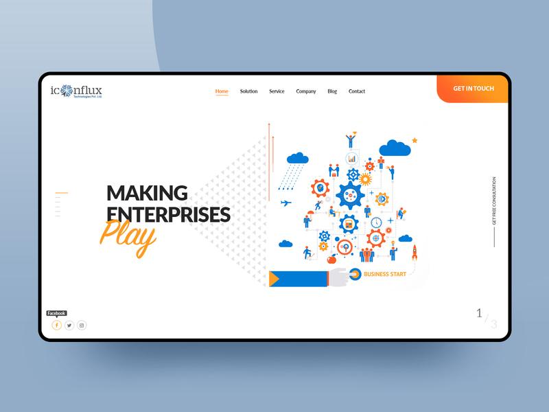website design for Iconflux userinterface uiux header cloud enterprise website site it seo agency landing page illustration design