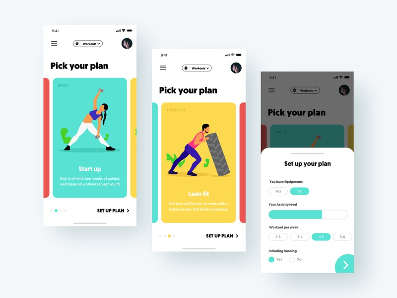 Pick your exercise plan workout dashboard aamir mansuri iphonex ux card onboarding ui form fitness mobile interaction design exercise app