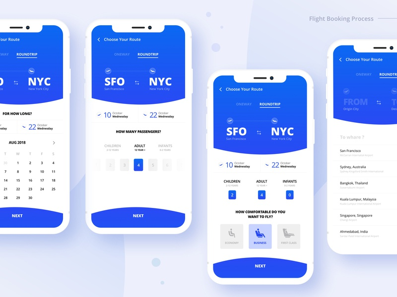 Flight Booking Steps process trip traveling booking flight mobile interaction design dashboard card onboarding iphonex form ux ui app aamir mansuri