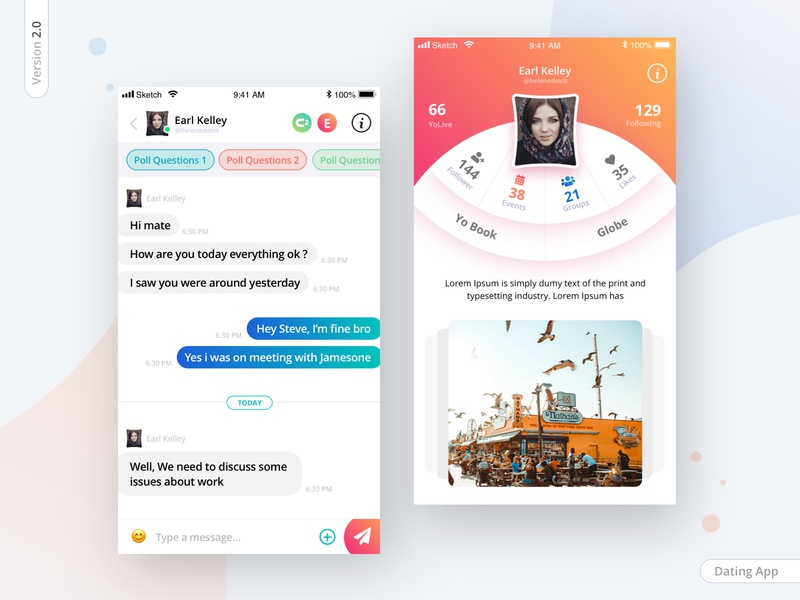 Dating app version 2.0 group chat machine learning follow profile party network minimal conversation iphonex interaction friend finder design app chat box dating app dating dashboad creative chat aamir mansuri app