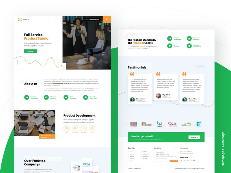 Agency website website software house green layout landing page homepage clean agency ux ui typography illustration icon graphic design character minimalism minimal vector web