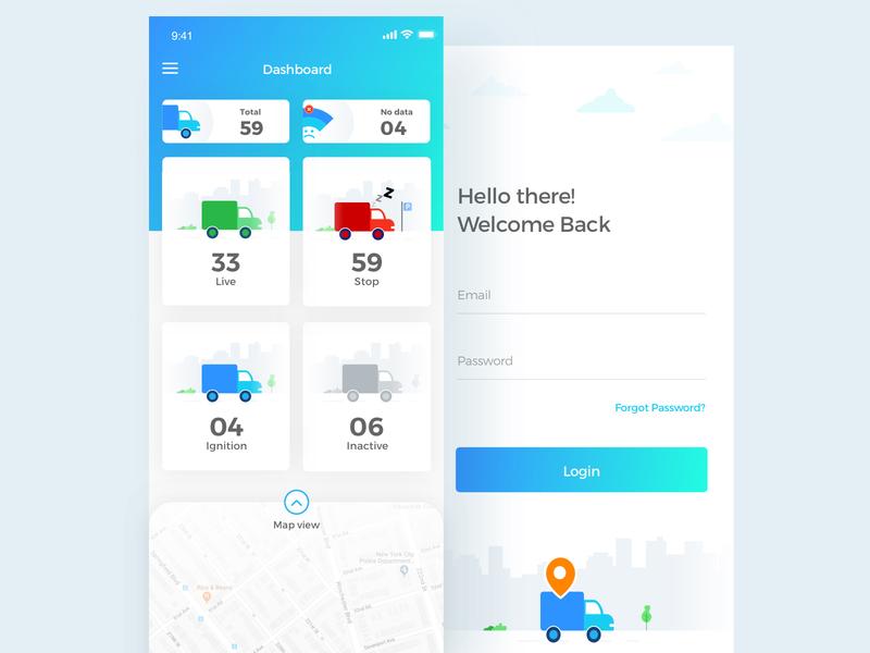 Geosafe Transport Tracking App interaction dashboard design dribbble iphonex tracking signup maps transport ux ui ios interface illustration icons truck aamir mansuri app