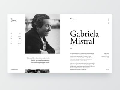 Gabriela Mistral webdesign concept homepage webdesign gabriela mistral golden canon landing page