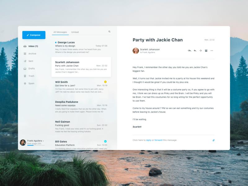 Email Client Concept ui design ux ui mac app mail client app concept email client email