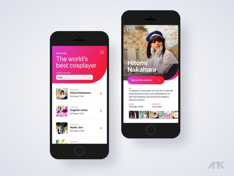 World's best cosplayer - App concept ui design ui  ux uidesign uiux ui mobile app design mobile app mobile ui app design