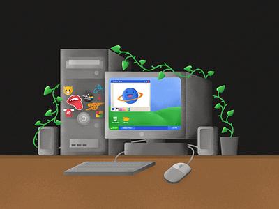 Stay Home circa 2003 illustrations windows xp nostalgic ms paint paint pc computer design icon stickers illustration