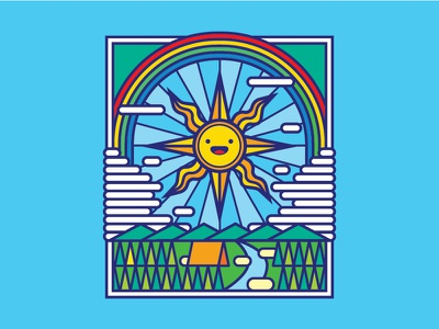 Under the Sun cute camp sun camping icon stickers t-shirt tees illustration