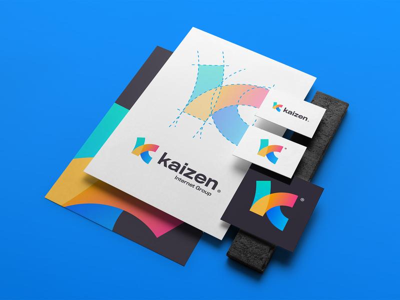 Kaizen Internet Group typography vector monogram logotipo branding gradient logo logotype anagram identity design theepode kaizen