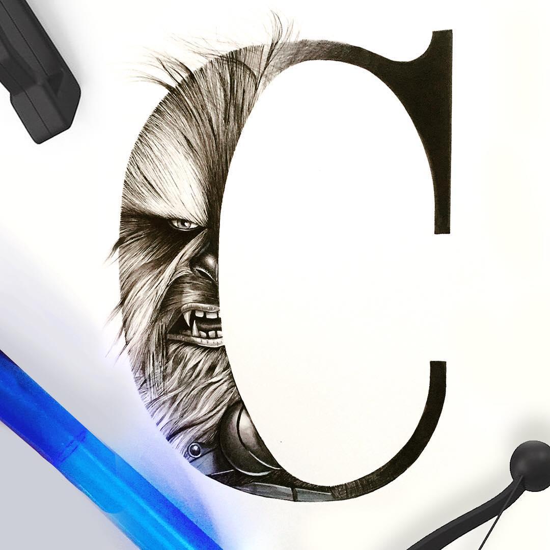 Alphabet series C for Chewbacca design typography illustration handmade