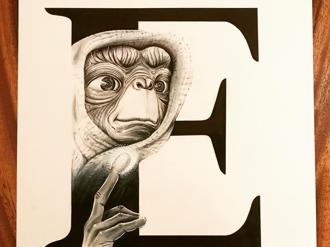 E.T. home phone letter e lettering typography handmade