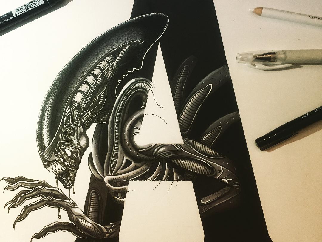 A is for Alien lettering artist lettering art lettering letter a design illustration typography handmade