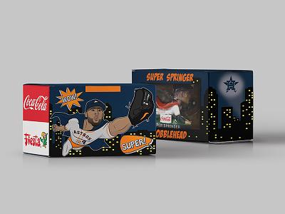 Super Springer Bobblehead Box coca-cola coke george springer sports mlb giveaway promotion superhero bobblehead baseball astros houston
