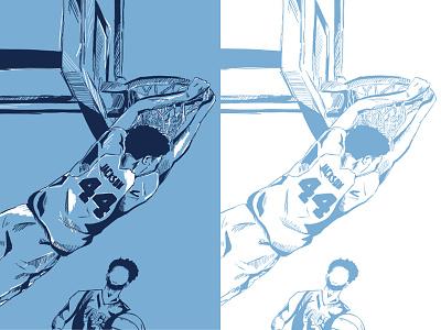 Jackson Dunk print illustration championship sports college ncaa basketball unc carolina tar heels