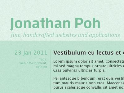 jonathanpoh.com homepage (green)