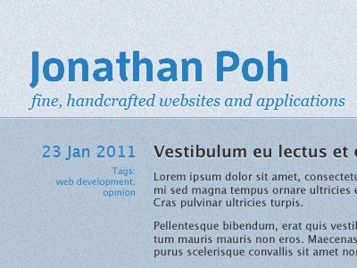 jonathanpoh.com homepage (blue)