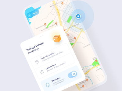 Drone Delivery flat clean simple uxui app ios notification reminder location pin map location time delivery time status delivery status delivery service delivery app delivery drone
