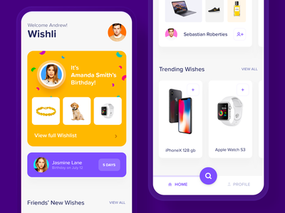 Wishli | Home Page board ux ui simple clean app material design navigation bar navigation reminder notification alert birthday profile account main page mainpage main home page homepage
