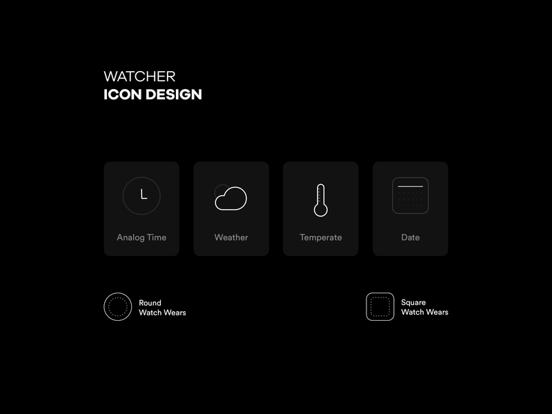Watcher | Icon Pack temperature temp weather clock watch luxe luxery dark mode night dark fancy clean modern minimal cards card icon design icon set icon pack icon