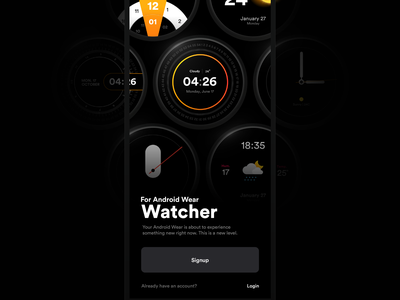 Watcher | Splash Screen minimal dark mode clean onboarding splashscreen resgiter login signin signup watch app watch ui watchface time watchos android wear android apple watch apple clock watch