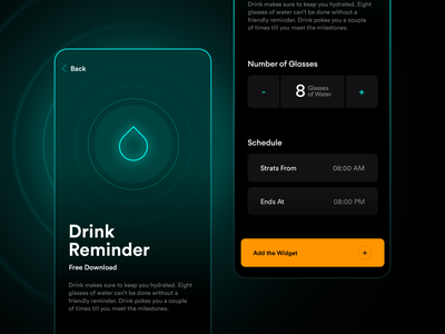 Watcher | Drink Water Reminder design widget mobile app simple clean dark mode dark component set time time watch app ios apple alert notify notification reminder drink water drink water
