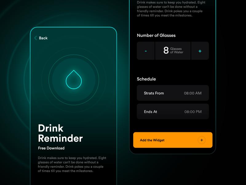 Watcher | Drink Water Reminder design widget mobile app simple clean dark mode dark component set time time watch app ios apple alert notify notification reminder drink water drink water