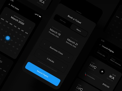 Book a Flight UI night mode dark mode night dark journey plane airplane redeem reserve calendar schedule book flight booking airline tourist tourism travel flight ui kit ui