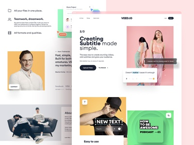 VEED.IO | Home Page Exploration v.1 subtitle modern design simple modern minimal clean video edit video typogaphy brand design brand indentity branding interface hero image website design home page landing page web design website web