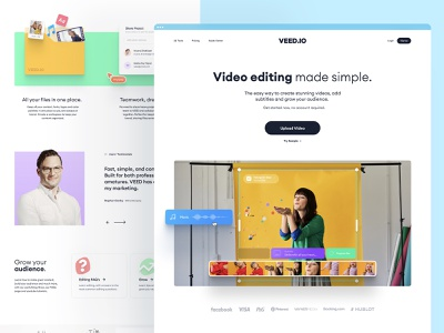 VEED.IO | Home Page Exploration v.3 product design interface subtitle edit video minimal modern simple clean typography hero image home page brand design brand identity branding landing page design landing page web design website web