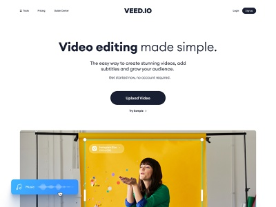 VEED.IO   Home Page Exploration v.3 product design interface subtitle edit video minimal modern simple clean typography hero image home page brand design brand identity branding landing page design landing page web design website web