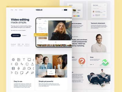 VEED.IO | Home Page Exploration v.2 subtitle video brand identity brand design branding brand product design web app minimal modern clean simple clean interface simple landing page design landing page landing website design web design website web