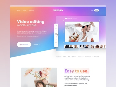 VEED.IO | Home Page Exploration v.5 brand identity branding brand web app subtitle editor editing video editing video modern colorful web page home page landing page design landing page landing website design web design website web