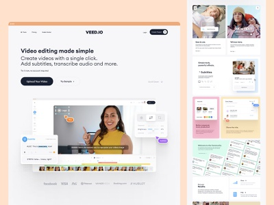 VEED.IO | Home Page Exploration v.6 web app ui ux modern minimal simple video editor subtitle editor edit video branding brand landing page design landing page landing website design web design website web