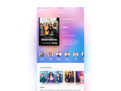 TV Shows App episodes ui ux application ios cast movie minimal shows box office series tv