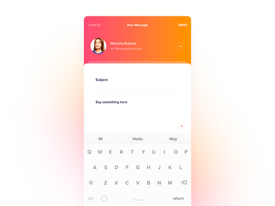 Email App keyboard compose user experience user interface ios ux ui message text app mail email