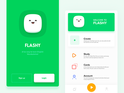 Flashy App tehran iran green game e-learn vocabularies teach education english learning app flash card flash