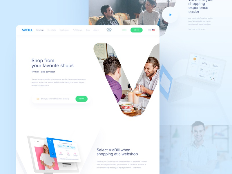 Viabill - Landing Page responsive modern ecommere white clean simple design webpage design webpage web website page landing landing page