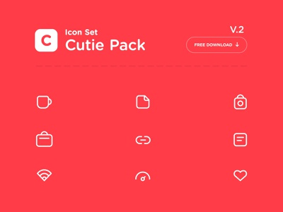 Cutie Pack v.2 | Freebie free vector cute simple icon pack icon set icon resource freebies download freebie