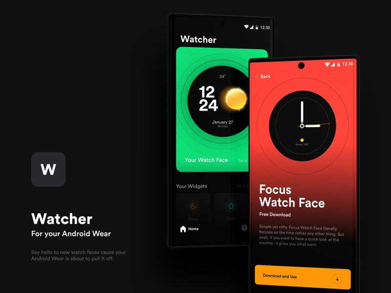 Watcher | The Watch Face App simple android wear ios clean ui dark mode dark bearthe timer digital analog time clock apple watch watchos clean watches watch ui watch face watchface watch