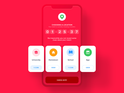 Waiting Screen app ios simple clean red card system cards card location map number timer countdown timer countdown loading screen loading please wait waiting screen waiting wait