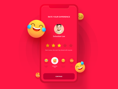 Rate The Date simple clean ios cute ui ux smiley dating app comment review star experience date sticker emoji survey submit rank