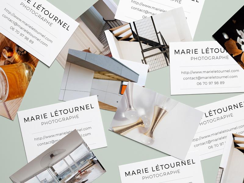 Marie Letournel Photographe Cartes de Visite branding photographer business card design brand strategy brand identity brand design