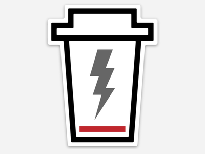 Charge Me Up Sticker Design vector coffee sticker