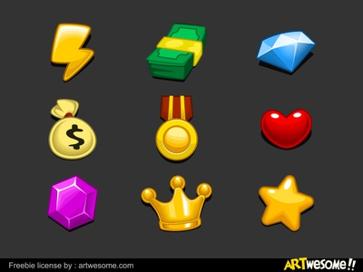 Freebie - Game Currency Icons Set vector free cartoon casual mobile artwesome set icon currency download game freebie