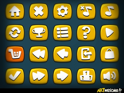Freebie - Artwesome Mobile Game Icons vector mobile button game icon freebie free download casual cartoon
