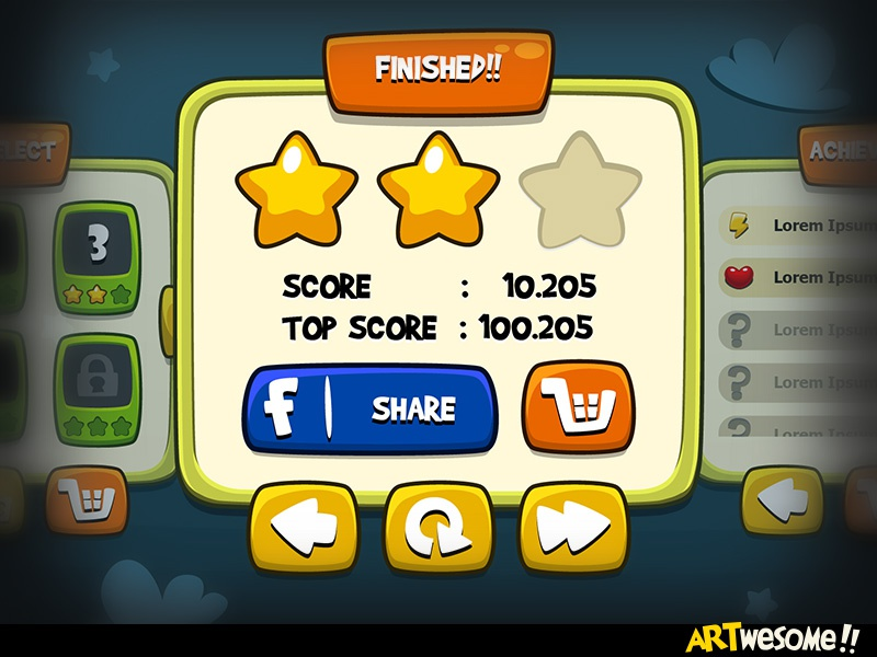 Freebie – Artwesome Mobile Game GUI