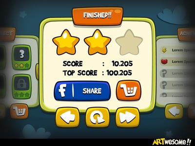 Freebie - Artwesome Mobile Game GUI icon vector casual fun cartoon mobile game gui download free freebie