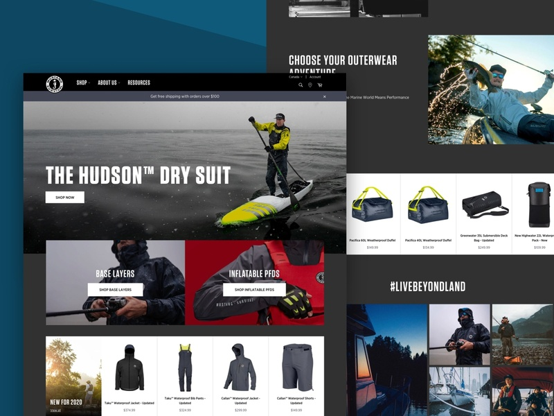 Mustang Survival ui design shopify plus shopify homepagedesign homepage accessories clothing ecommerce ux design design agency ui  ux design iamota