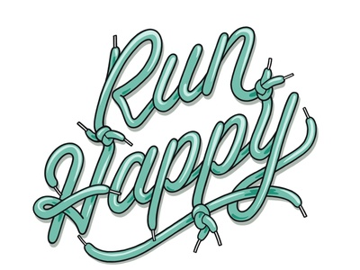 Run Happy shoes branding sports logo sports design design illustration hand lettering typography lettering